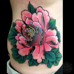 tomtom traditional peony tattoo