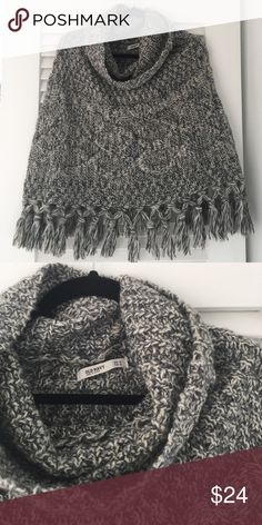 Woven cape/poncho Old navy knitted poncho with fringe and cowl neck. Pretty gray white black with a bit of tan woven in. Size XS/S. poly/acrylic/wool Old Navy Sweaters