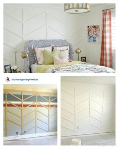 Herringbone pattern wall treatment... oh so simple yet dramatic, delish! Thank you Sita Montgomery for the inspiration. http://www.sitamontgomeryinteriors.com/?m=1