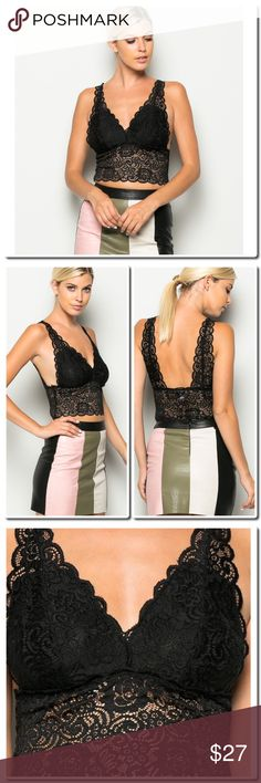 "COMING SOON Scallop Lace Crop Top 100% POLYESTER MODEL IS 5`10``, BUST 32""B, WAIST 24"", HIPS 34"" AND WEARING A SMALL Tops Crop Tops"