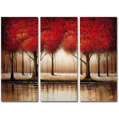 trademark fine art of red 3pc wall
