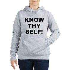 (FRONT) Women's light color light steel grey hooded sweatshirt with Know Thy Self theme. The Know Thy Self phrase is a spiritual esoteric saying reminding the individual that inner truth and awareness is important to understanding our existence. Available in white, light steel grey, pale pink; medium, large, x-large, 2x-large size for only $43.99. Go to the link to purchase the product and to see other options – http://www.cafepress.com/stkts