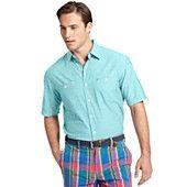 Izod Shirt, Short-Sleeve Chambray Button-Down Shirt