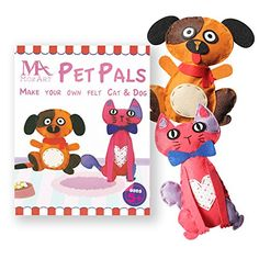 Kids' Sewing Kits - Cute Cat  Dog Sewing Pattern Kit for kids  Starter pack with all parts and accessories included  Felt Fabrics Supplies  Sewing Projects Set  Educational Fun * Be sure to check out this awesome product.