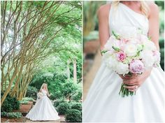 Bridal bouquet: pink and white peonies and roses. Asymmetrical wedding dress. Soft-Hued Wedding at Atlanta History Center // Coordinator: Watermark Weddings   Krista Turner Photography