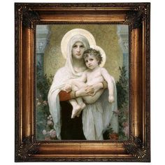 """Astoria Grand 'The Madonna of the Roses' Framed Oil Painting Print on Canvas Size: 26.25"""" H x 22.25"""" W, Format: Antique Gold Frame"""
