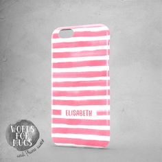 Personalized iPhone 6 case watercolor pink stripes by DeWadaSTORE