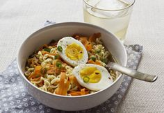 Get the recipe: ramen with soft-boiled eggs, scallions, and carrot ribbons              Image Source: A Bea...