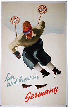Sun & snow in Germany (1936) vintage ski poster
