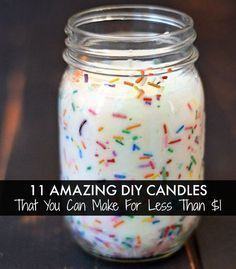 Cupcake - Scented Funfetti Candle + 10 More Amazing Candle DIYs That You Can Make For Less Than $1 ... True Dat !