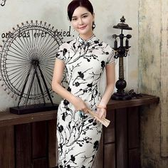 Black and white flocking lace cheongsam short flower dress | Modern Qipao