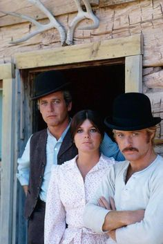 """Paul Newman as Butch, Katherine Ross as Etta Place and Robert Redford as Sundance in """"Butch Cassidy and the Sundance Kid"""" directed by George Roy Hill. Katherine Ross, Sundance Kid, Hollywood Icons, Hollywood Stars, Hollywood Actor, Paul Newman Robert Redford, Mother Courage, Gena Rowlands, Kate Jackson"""