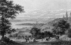 Das Arenenberger Zelt mit Blick auf Konstanz und die Alpen (Stahlstich nach Zeichnung von Louis Mayer, um 1830).
