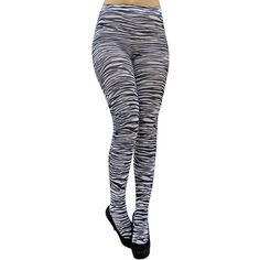 Zebra Black & White Print Striped Leotard Tights ($12) ❤ liked on Polyvore featuring intimates, hosiery, tights, leg wear, leotard leggings, striped pantyhose, black white striped tights, patterned tights, striped stockings and stripe tights