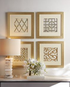 Geometric Prints in Gold Frames!  Islands Framing Gallery in Savannah, GA is a premiere custom framing shop with years of experience in the business, attention to detail, and phenomenal customer service! Call (912) 691-5785 or visit our website www.islandsframing.com for more information!