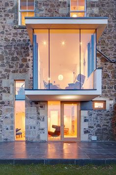 The plan to build a balcony on the back of a traditional Victorian semi overlooking the Firth of Tay in Fife ended up as a contemporary reinvention of the entire natural stone house, complete with a floating glass bay window. Architecture Design, Residential Architecture, Amazing Architecture, Windows Architecture, Glass Extension, Building Extension, My Dream Home, Home Fashion, Exterior Design