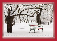 Snowy Red Park Bench Winter Scene Christmas Card - Discount Greeting Cards