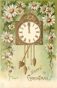 A HAPPY CHRISTMAS  pendulum clock, surrounded by white daisies with yellow centres