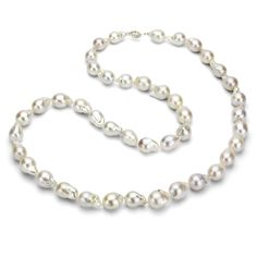 Sterling Silver 10-10.5mm White Nucleated Freshwater Cultured Pearl Necklace, 28' *** Click image for more details.
