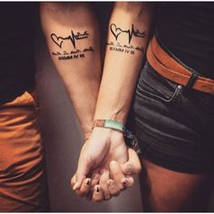 40 Unique and Matching Couple Tattoo Designs - OutfitCafe - Matching Couple Tat. - Tattoos For Women Small Unique Hand Tattoos, Small Wrist Tattoos, Body Art Tattoos, Sleeve Tattoos, I Tattoo, Cool Tattoos, Tattoo Quotes, Lucky Tattoo, Amazing Tattoos