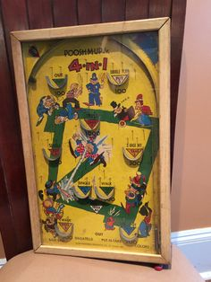 Vintage Pinball Game Poosh M Up Jr Baseball Graphics by Duckwells