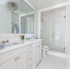 Bathroom suggestions, bathroom renovation, bathroom decor and master bathroom organization! Bathrooms may be beautiful too! From claw-foot tubs to shiny fixtures, they are the master bathroom that inspire me probably the most. Beautiful Bathrooms, Modern Bathroom, Small Bathroom, White Bathrooms, Dyi Bathroom, All White Bathroom, Dream Bathrooms, Bathroom Flooring, Long Narrow Bathroom