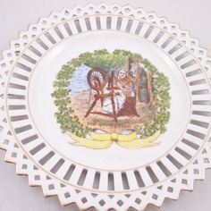 American Hand Decorated Reticulated Plate, Irish Spinning Wheel Motif, Gold…