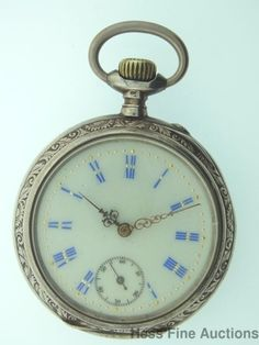 800 Fine Silver Two Tone Open Face Fancy Dial Antique Pin Set Pocket Watch #Unbranded