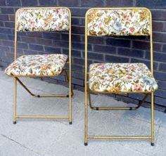 Pair of HTF Vintage French Lafuma Folding Chairs Tubular Steel Tapestry Extra Mid Century Seating Backpacks VW Camping