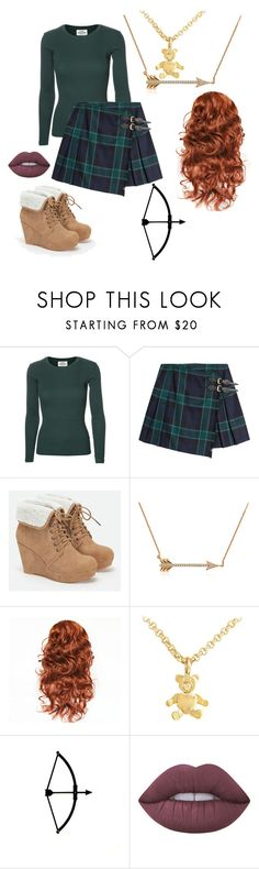 """Modern Merida"" by randomgirl03 ❤ liked on Polyvore featuring Mads Nørgaard, Burberry, JustFab, Pomellato, Lime Crime and modern"