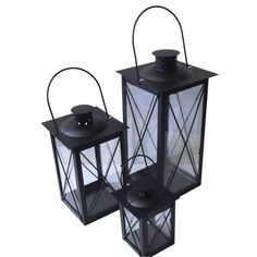Set Of Three Cavendish Candle Lanterns In Black