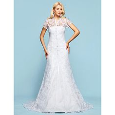 Strapless tribunal Satén vestido de novia trompeta / sirena con chaqueta de encaje - USD $ 197.99