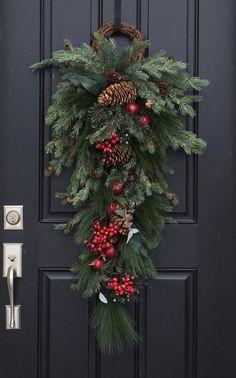 Door Swag Christmas Wreaths Holiday Decor Wreaths by twoinspireyou