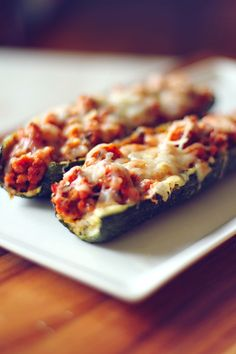 Made it Pizzucchini- Doesn't really taste like pizza, but delicious!  Reminds me of stuffed green peppers.