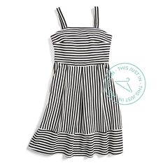 This flirty dress instantly elongates your frame thanks to figure-flattering vertical stripes. #ThisJustIn