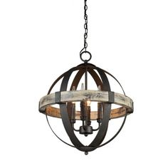 Sphère suspendu métal et bois usé 289$ royaume luminaire