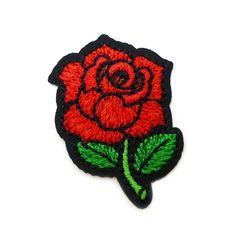 € 1,50 Patch - Strijkplaatje Roos zwart rood