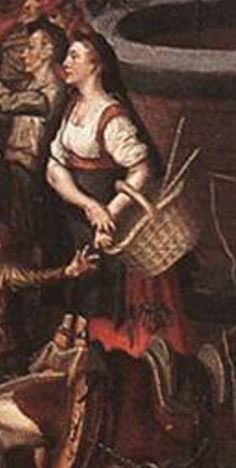 """AERTSEN, Pieter,  Detail of """"Market Scene"""" c. 1550  this is interesting, there is no lacing visible and you can see her money pouch, also no partlet. Is this woman not wearing her laced overgown or have Pieter simpl forgotten to paint her lacing in this otherwise very detailed picture? With snub nosed huik."""