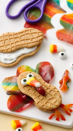 ✿Fruity Feather Turkey! An adorable and easy fall treat for after school.  Blog is not longer active, but you can see the ingredients here.  Fruit roll ups are what makes the feathers on the nutter butter cookies.  So cute!