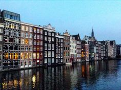 Holland houses. Grand canal. Amsterdam, Netherlands.