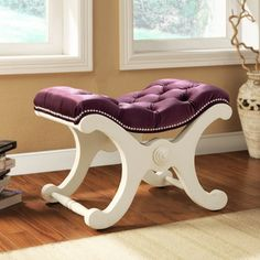 @Overstock - Artfully designed and solidly built, this imperial collection bench is ideal in the bedroom as an end-of-bed bench. This piece is framed by poplar wood and cover with elegant velvet with nailheads.   http://www.overstock.com/Home-Garden/Imperial-Purple-Velvet-White-Bench-with-Nailhead-Detail/7252386/product.html?CID=214117 $184.99