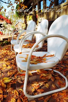 Most Seniors today can remember having these (vintage-?) chairs,probably painted in loud colors. Lawn Furniture, Metal Furniture, Vintage Love, Vintage Metal, Metal Lawn Chairs, Vintage Chairs, Garden Chairs, Autumn Inspiration, Take A Seat