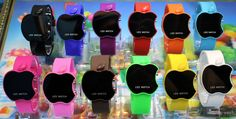 Fashion apple-shaped mirror LED electronic watches for children