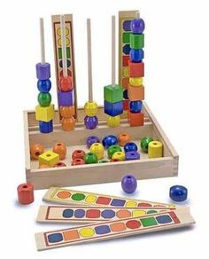 increase sequencing, fine motor, and visual perceptual and visual motor skills. I'd use for kids 18 months and up.