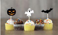 Halloween Jack O Lantern Ghosts Bats Cupcake Toppers Party Favor Decor SET OF 12 #Handmade #halloween Halloween Jack, Halloween Food For Party, Halloween Pumpkins, Halloween Cupcake Toppers, Pumpkin Jack, Paper Cake, Jack O, Bats, Ghosts