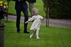 Crown Princess Victoria celebrates her 37th birthday, Solliden Palace, July 14, 2014-Princess Estelle running across the lawn