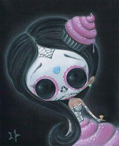 Sugar Fueled Skull Day of the Dead Doll Cupcake Pop Surrealism Lowbrow creepy cute big eyes eye art Stretched Canvas Prints, Canvas Art Prints, Sugar Skull Girl, Sugar Skulls, Candy Skulls, Day Of The Dead Art, Creepy Cute, Scary, Eye Art