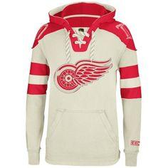 Reebok Detroit Red Wings CCM Pullover Hoodie - Natural