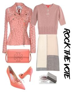 """""""Rock the vote in pink"""" by subvilli on Polyvore featuring Moschino Cheap & Chic, Burberry, Marni, Tory Burch, Manolo Blahnik, ToryBurch, tommyhilfiger, contestentry, polyvorefashion and rockthevote"""