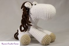 White & Brown Jointed Amigurumi Horse for Ages 3 & Up. $25, via Etsy.